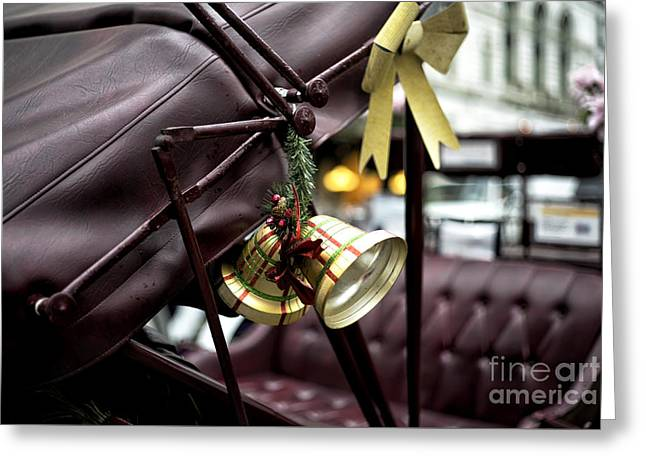 Christmas Bell On The Carriage Greeting Card by John Rizzuto