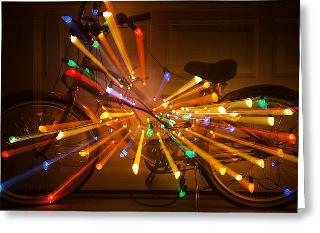 Christmas Lights Greeting Cards - Christmas Bike Abstract Greeting Card by Garry Gay