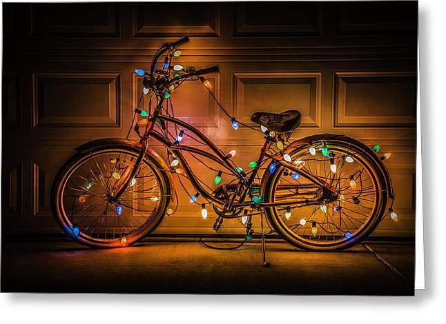 Christmas Lights Photographs Greeting Cards - Christmas Bike Greeting Card by Garry Gay