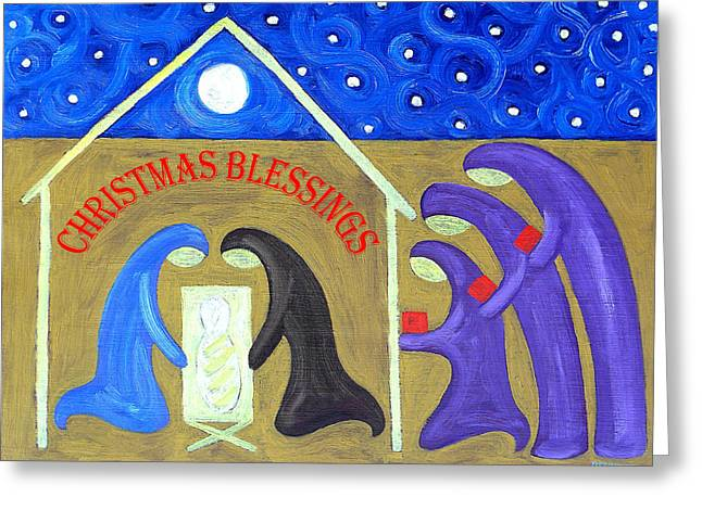 Child Jesus Greeting Cards - Christmas Blessings 2 Greeting Card by Patrick J Murphy
