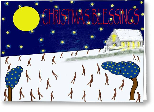 Chapel Mixed Media Greeting Cards - Christmas Blessings 8 Greeting Card by Patrick J Murphy