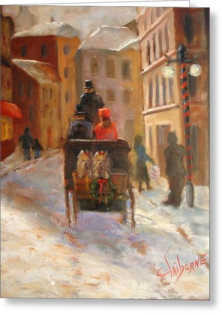 Horse And Buggy Paintings Greeting Cards - Christmas Buggy Ride  Greeting Card by Claiborne Hemphill-Trinklein