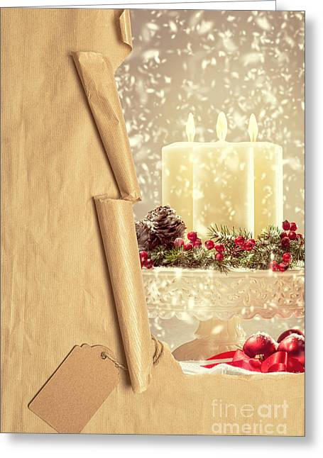 Label Greeting Cards - Christmas Candles Greeting Card by Amanda And Christopher Elwell