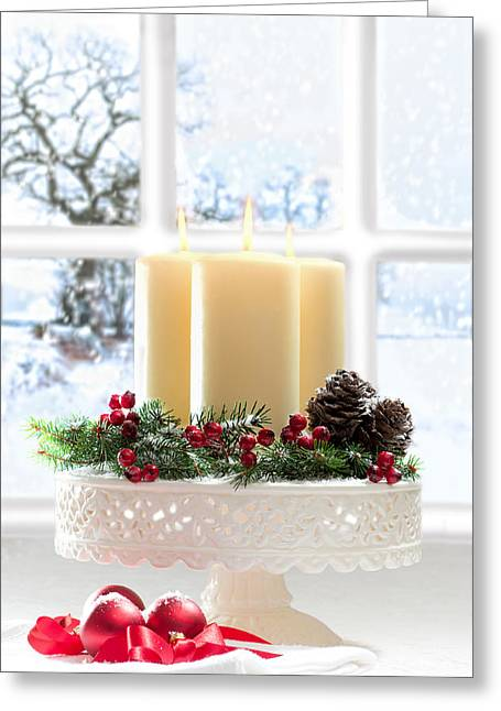 Window Light Greeting Cards - Christmas Candles Display Greeting Card by Amanda And Christopher Elwell