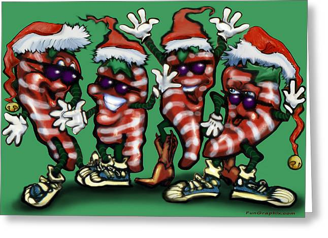 Christmas Candy Peppers Gang Greeting Card by Kevin Middleton