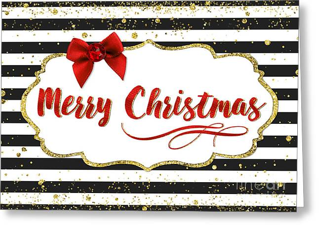 Christmas Card - Merry Christmas Red Bow Black And White Stripes Greeting Card by Natalie Kinnear