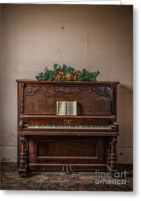Christmas Card With Piano In Old Church Greeting Card by T Lowry Wilson