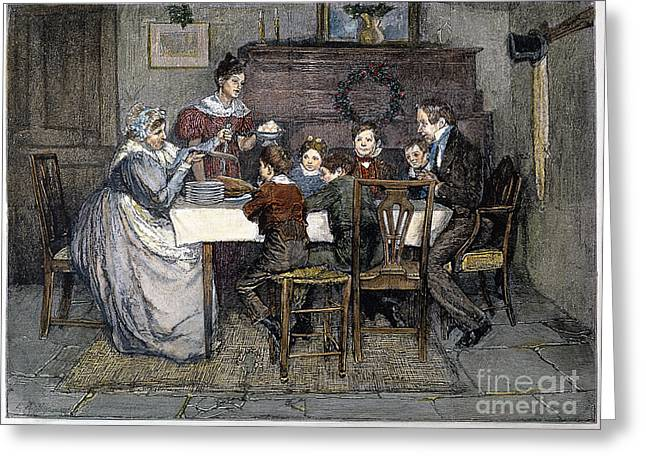 Dining Room Drawings Greeting Cards - Christmas Carol Greeting Card by Granger
