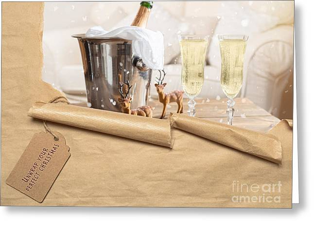 Christmas Champagne Greeting Card by Amanda Elwell