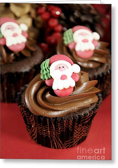 Christmas Greeting Greeting Cards - Christmas chocolate cupcakes with Santa faces Greeting Card by Milleflore Images