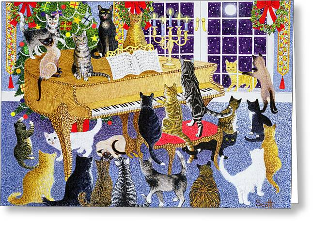 Scores Drawings Greeting Cards - Christmas Chorus Greeting Card by Pat Scott