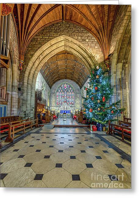 Christmas Church Greeting Card by Adrian Evans