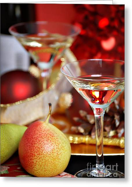 Table Wine Greeting Cards - Christmas Cocktails Greeting Card by HD Connelly