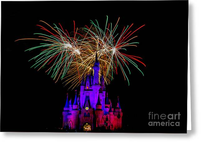 Christmas Colored Disney Fireworks Greeting Card by Darcy Michaelchuk