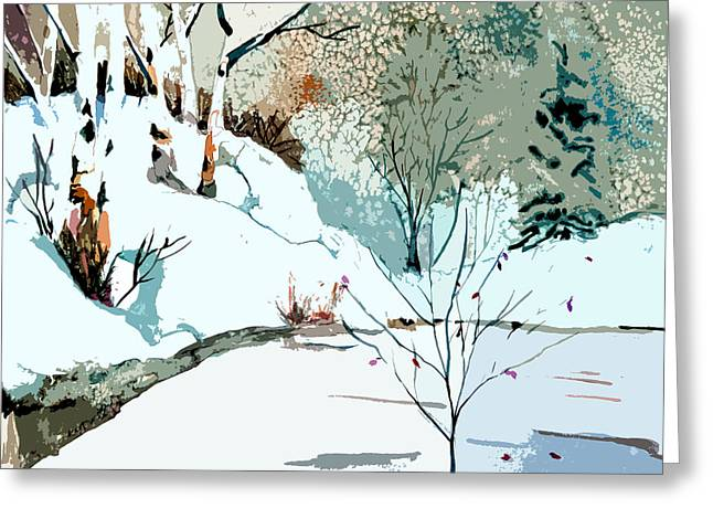 Snowy Night Greeting Cards - Christmas Crisp Greeting Card by Mindy Newman