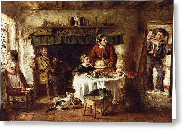 Interior Scene Greeting Cards - Christmas Day Greeting Card by George Hardy