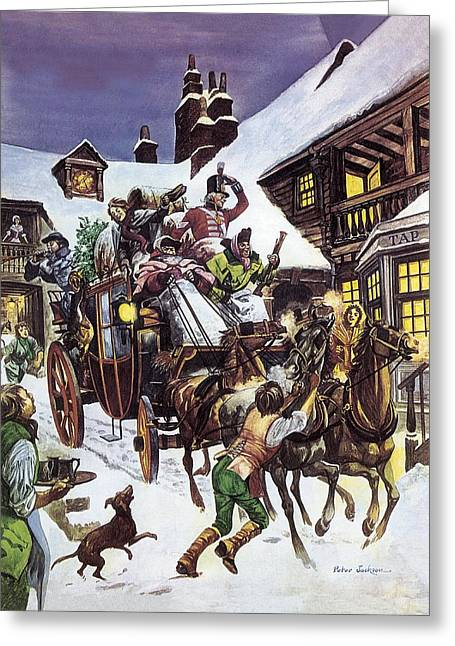 Musket Greeting Cards - Christmas Day in the Eighteenth Century Greeting Card by Peter Jackson