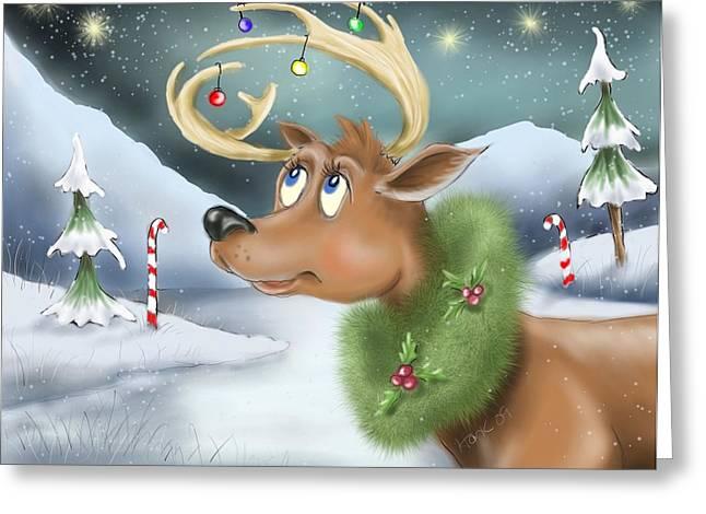 Christmas Art Greeting Cards - Christmas Deer Greeting Card by Hank Nunes