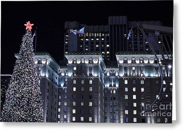 Christmas Eve 2009 At The Westin St Francis Sf Greeting Card by Wingsdomain Art and Photography