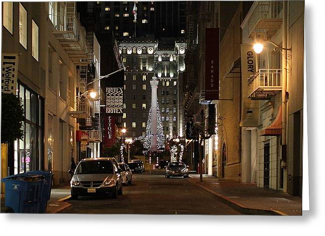 Christmas Eve 2009 on Maiden Lane Greeting Card by Wingsdomain Art and Photography