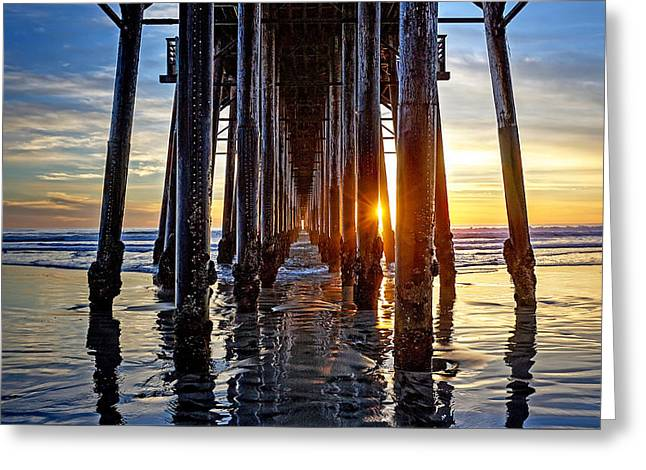 Christmas Eve At The Pier Greeting Card by Ann Patterson