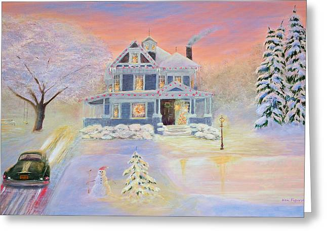 Kinkade Greeting Cards - Christmas Eve Greeting Card by Ken Figurski