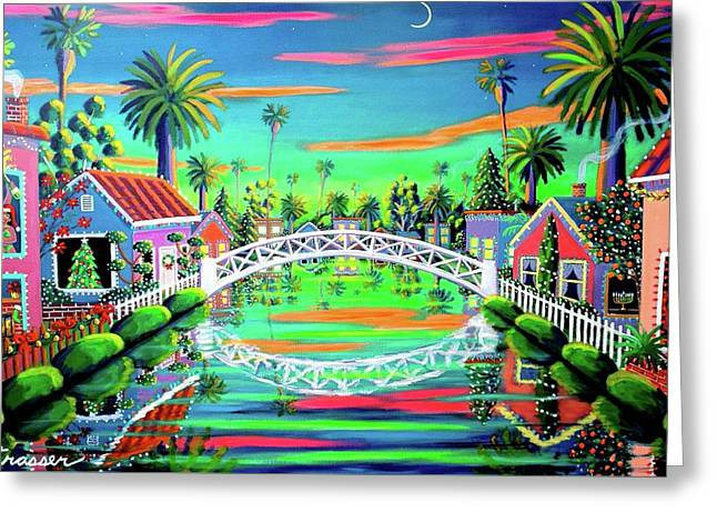 Christmas Eve On Retro Canal Greeting Card by Frank Strasser