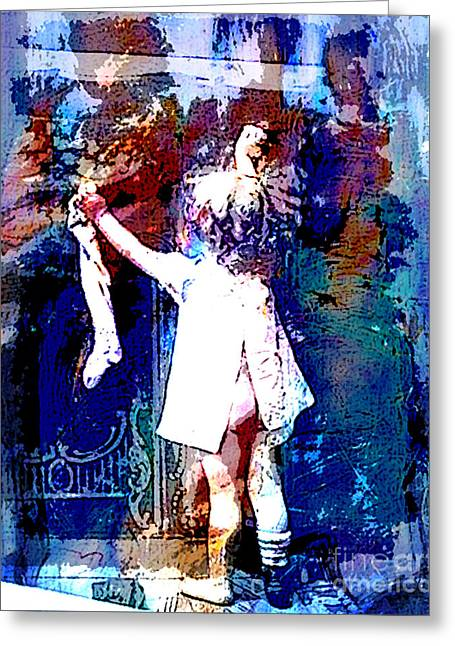 Christ Child Mixed Media Greeting Cards - Christmas Eve Preparations Greeting Card by Tammera Malicki-Wong