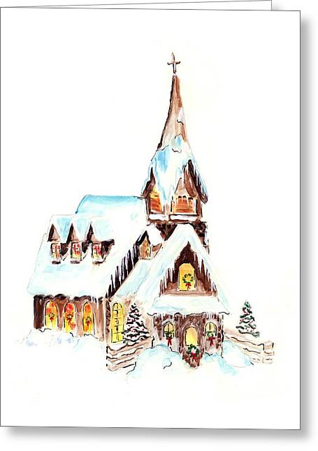 Christmas Eve Greeting Card by Rosemary Babikan