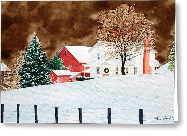 Wintry Greeting Cards - Christmas Farm I Greeting Card by Jim Gerkin