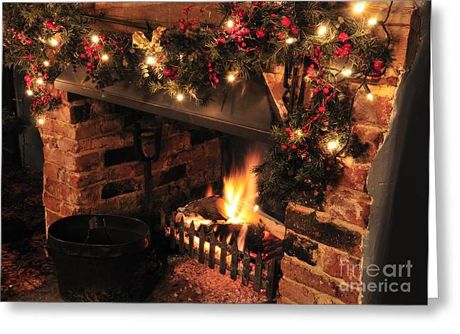 Christmas Fireplace Greeting Card by Andy Smy