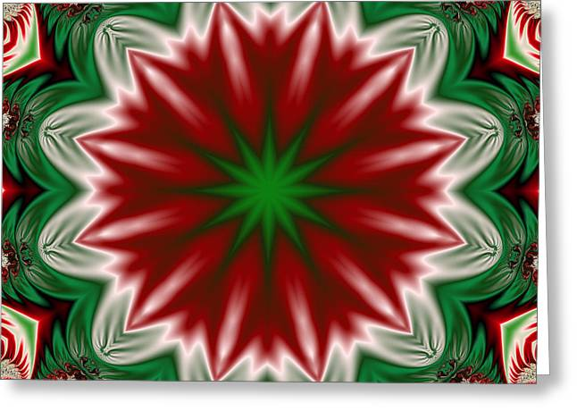 Kaleidoscope Greeting Cards - Christmas Flower Greeting Card by Ruth Moratz