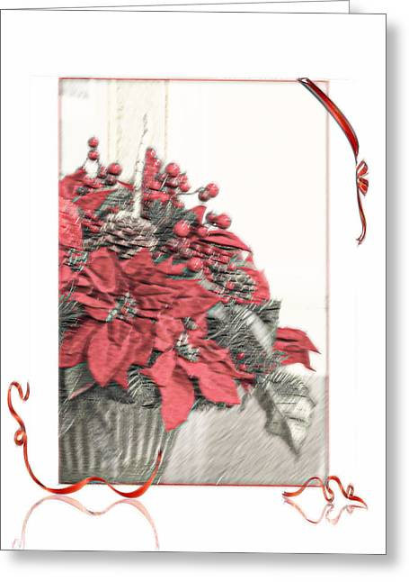 Christmas Flower Strong Oil Photoart Painting  Greeting Card by Walter Herrit