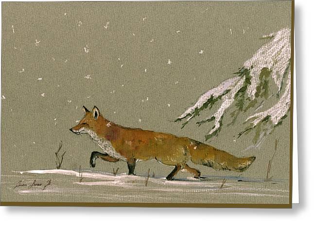 Christmas Fox Snow Greeting Card by Juan  Bosco
