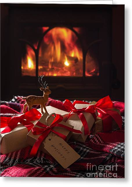 Christmas Gifts By The Fire Greeting Card by Amanda And Christopher Elwell