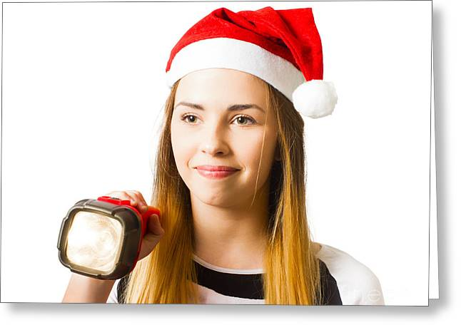 Christmas Girl On A Search And Find Present Hunt Greeting Card by Jorgo Photography - Wall Art Gallery