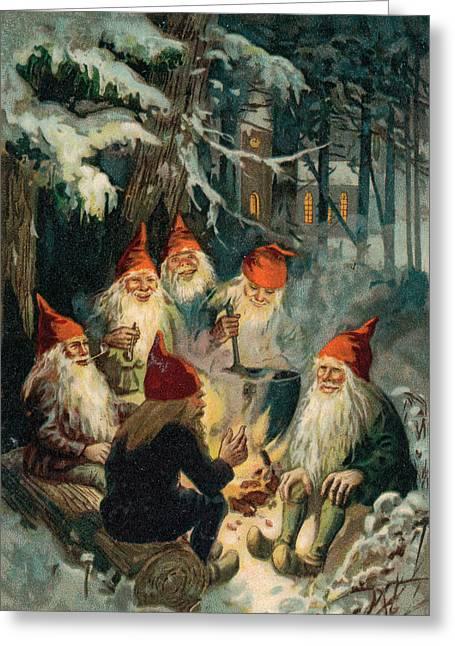 Christmas Card Drawings Greeting Cards - Christmas Gnomes Greeting Card by English School