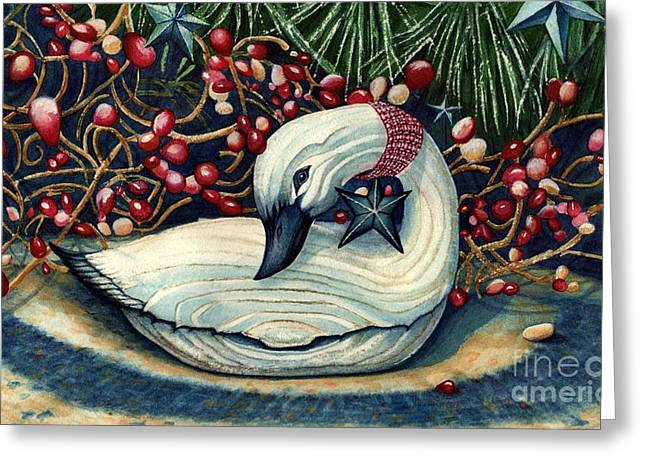 Tin Goose Greeting Cards - Christmas Goose Greeting Card by Janine Riley