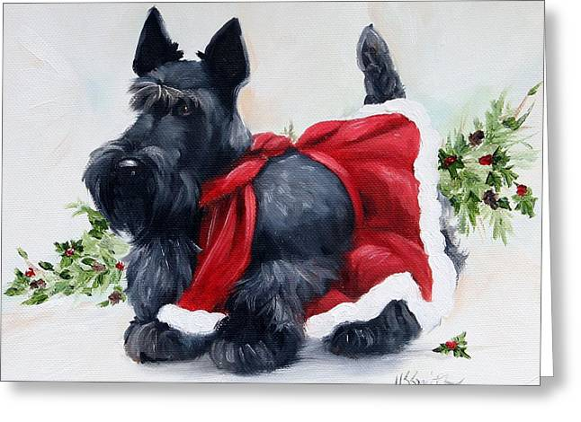 Scottish Terrier Puppy Greeting Cards - Christmas  Greeting Card by Mary Sparrow