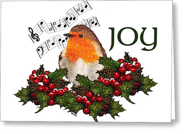 Joyce Geleynse Greeting Cards - Christmas Holly With English Robin Greeting Card by Joyce Geleynse