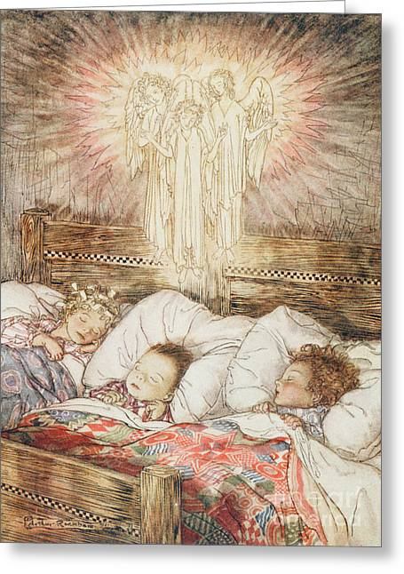 1939 Greeting Cards - Christmas illustrations from The Night Before Christmas Greeting Card by Arthur Rackham