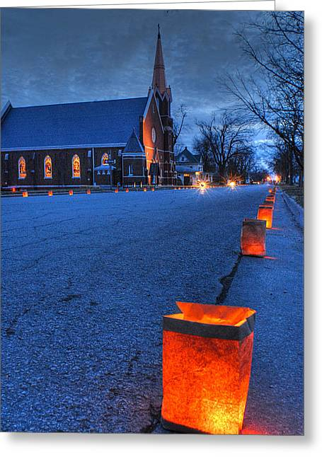 Luminaries Greeting Cards - Christmas in Horton Kansas Greeting Card by Don Wolf
