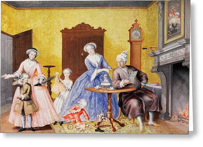Doll Drawings Greeting Cards - Christmas in the Royal household of Empress Maria Theresa of Austria with Family Greeting Card by Maria Christine