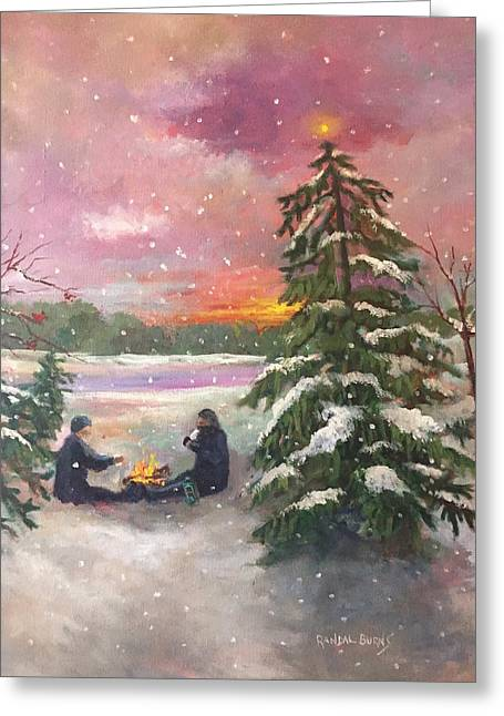 Christmas In The Woods Greeting Card by Randol Burns