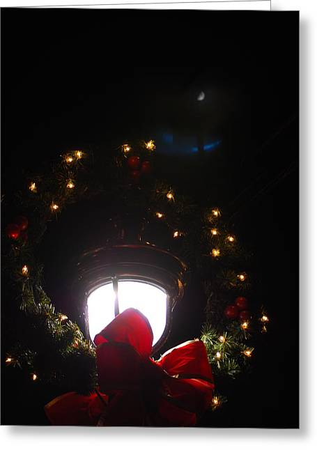 Streetlight Greeting Cards - Christmas Lamp Under Moon Greeting Card by Peter  McIntosh
