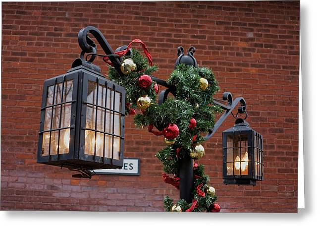 Streetlight Greeting Cards - Christmas Lamps Greeting Card by Craig Hosterman