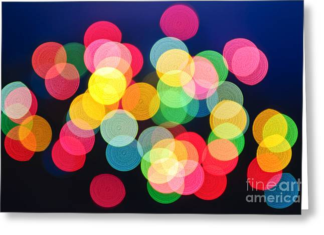Blurred Greeting Cards - Christmas lights abstract Greeting Card by Elena Elisseeva