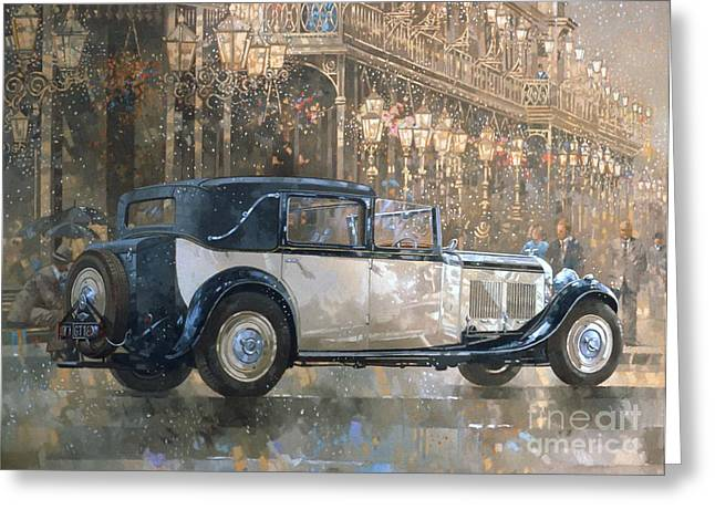 Old Buildings Greeting Cards - Christmas Lights and 8 litre Bentley Greeting Card by Peter Miller