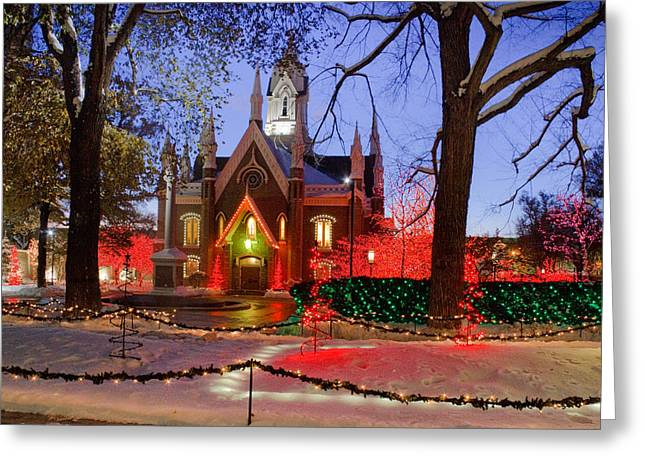 Snowy Evening Greeting Cards - Christmas Lights at Temple Square Greeting Card by Utah Images