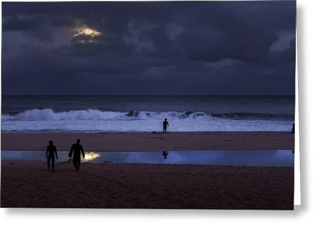 Christmas Moon Setting Over Pipeline Greeting Card by Sean Davey